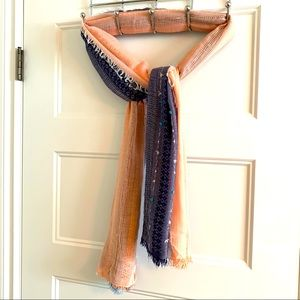 Coral / Blue Scarf